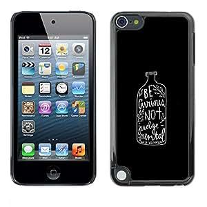 FECELL CITY // Duro Aluminio Pegatina PC Caso decorativo Funda Carcasa de Protección para Apple iPod Touch 5 // Alcohol Text Minimalist Black