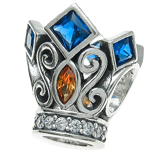 Dreambell 925 Sterling Silver Royal King Crown Cz Crystal Bead for European Charm Bracelets ()