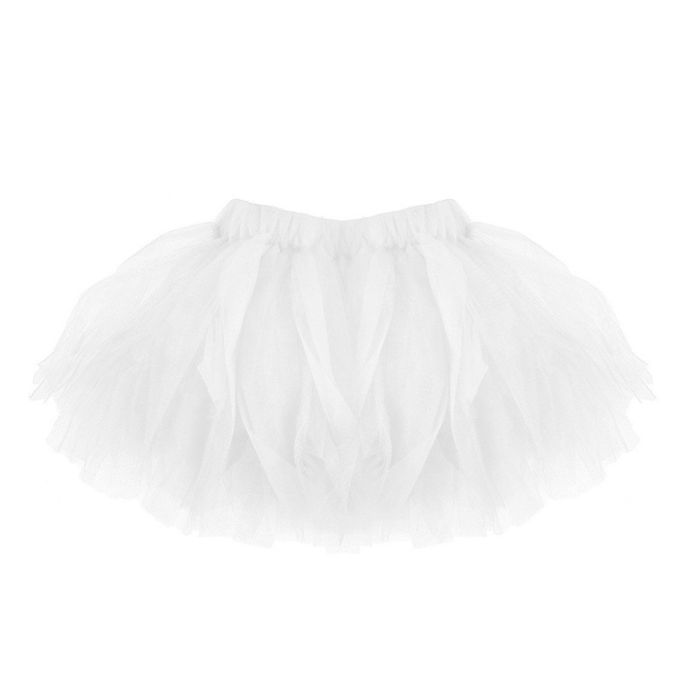 SiQing Kids Baby Girls Solid Color Pleated Tutu Ballet Skirts Fancy Party Skirt Dancewear (One Size, White)