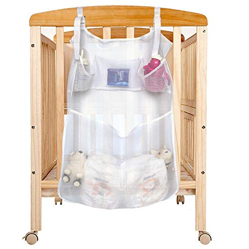 Hanging Diaper Organizer, Universal Hanging Organizer, 4 Pockets Bath Toy Organizer Mesh Nets for Crib, Changing Tables, Diaper Caddy, Bathtub Toys, Bathroom Storage, 19.68 x 23.6 Inch
