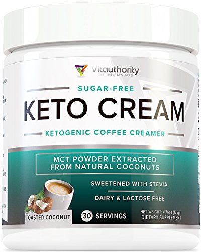 Keto Cream: Sugar Free Perfect Keto Coffee Creamer Powder with Vegan MCT Oil Powder, Stevia Sweetened Keto Creamer for Coffee | Low Calorie, Non Dairy Ketogenic Coffee Booster, Toasted Coconut, 30 srv