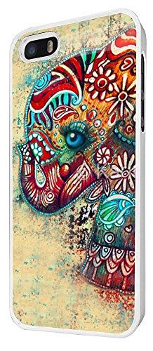 046 - Funky Colourfull Aztec Elephant Blue Eye Design iphone 4 4S Coque Fashion Trend Case Coque Protection Cover plastique et métal - Blanc
