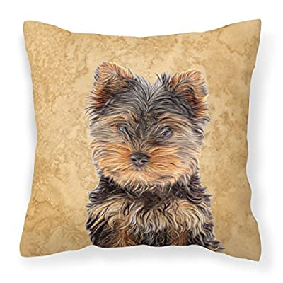 Caroline's Treasures KJ1230PW1414 Yorkie Puppy/Yorkshire Terrier Canvas Fabric Decorative Pillow, 14Hx14W, Multicolor : Garden & Outdoor