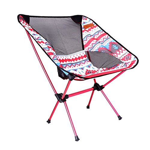 MIJORA-Aluminum Folding Camping Chair Seat For Outdoor Fishing Hiking Beach Picnic Tool(red) by MIJORA