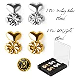 Earring Lifters - 2 Pairs of Adjustable Hypoallergenic Earring Lifts - 1 Pair of 18K Gold Plated and 1 Pair of Sterling Silver Plated - for Heavy Earrings Bad Piercings and Stretched Lobes - Daysam