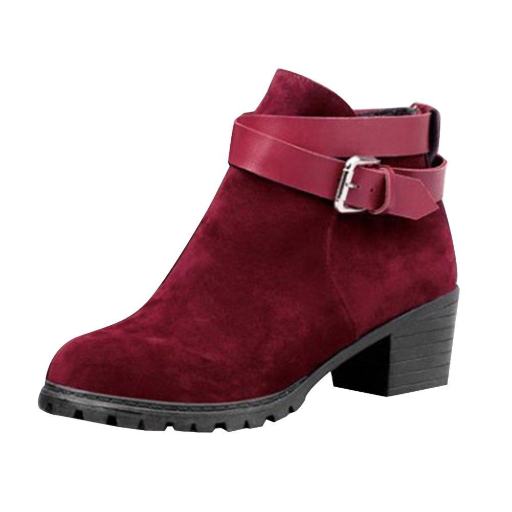 Frestepvie Bottes Classiques Bloc Femme Boots Bottine Courtes Bottes Ville Confort B01NBFHY2W Chaussure Talon Haut Bloc red 66b838c - jessicalock.space