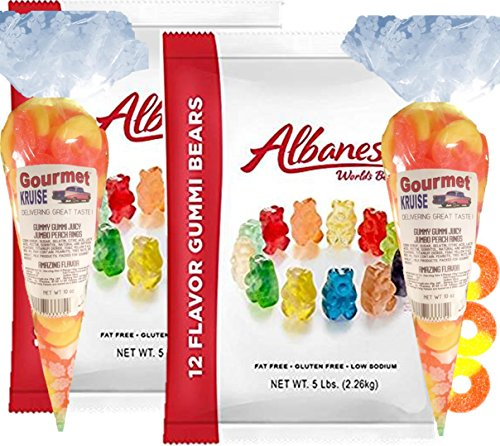 Albanese 12 Flavor Gummi Bears (2- 5lb bags) Plus (2-10oz) Juicy Jumbo Peach Rings Gourmet Kruise Signature Gift Bags (NET WT 180 OZ) 2 Item Bundle