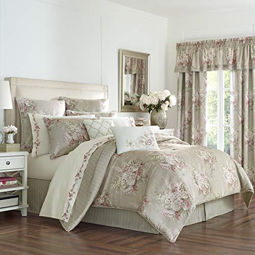 Royal Court Eleanor Floral 4 Piece Comforter Set, Natural, Full,