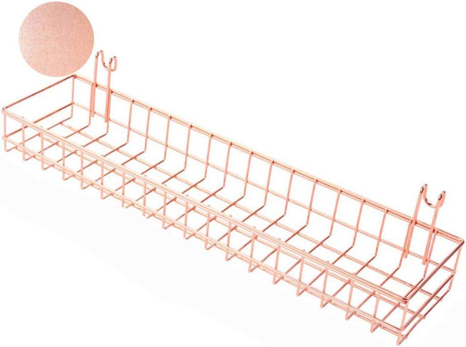 Rose Gold Basket For Gridwal/Grid Panel Hanging Organizer Wire Metal Storage Shelf Rack Decor Size 15.7
