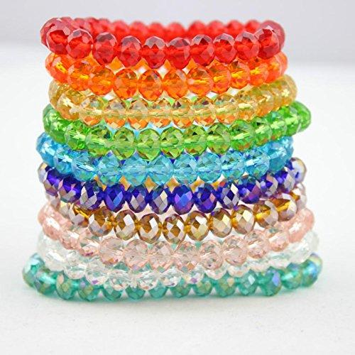 (Man-made crystal bracelet female Korean fashion transparent colored glass Bianzhu 8 1 yuan jewelry amethyst string)