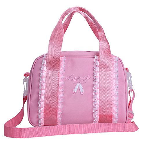 YiZYiF Girls Embroidered Ruffles Dance Duffle Bag with Detachable Strap Pink