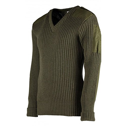TW Kempton York Woolly Pully Vee Neck Sweater with Patches - Epaulets - Pen Pocket OD - Medium