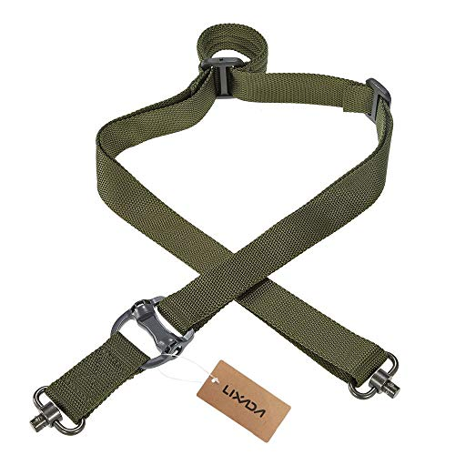 (Lixada Military Tactical Safety Two Points Outdoor Belt QD Series Sling Adjustable Strap ArmyGreen)