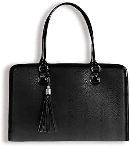 BfB Laptop Bag for Women - Handmade Designer Briefcase Messenger 17 Inch Computer Bag - Black