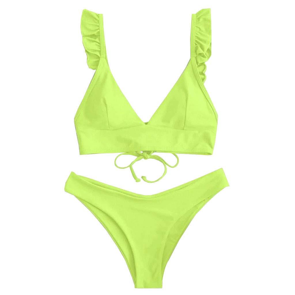 Womens Two-Piece Swimwear Solid V Neck Swimsuits High Cut Split Bikini Sets Bathing Suit