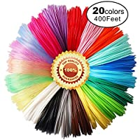 3D Pen PLA Filament Refills, 20 Colors, 20 Feet Each Color