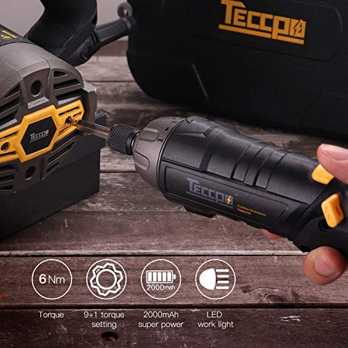 Electric Cordless Screwdriver Rechargeable, Torque 6Nm, 4V Max 2.0Ah Li-ion, 9+1 Torque Gears, 44 Bits, Adjustable 2 Position Handle with LED Torch, USB Charging. by TECCPO (Image #4)