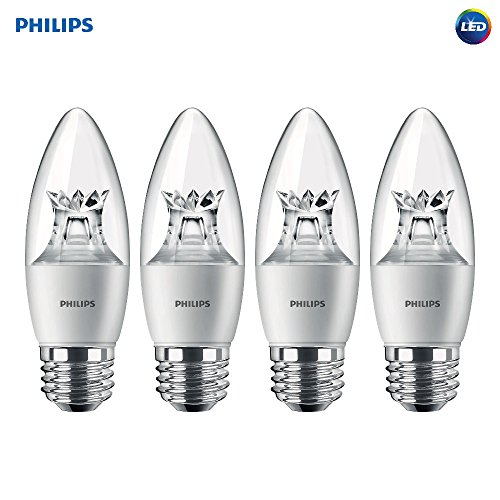 Philips LED Dimmable B12 Soft White Light Bulb with Warm Glow Effect 500-Lumen, 2700-2200-Kelvin, 7-Watt (60-Watt Equivalent), E26 Base, Clear, 4-Pack