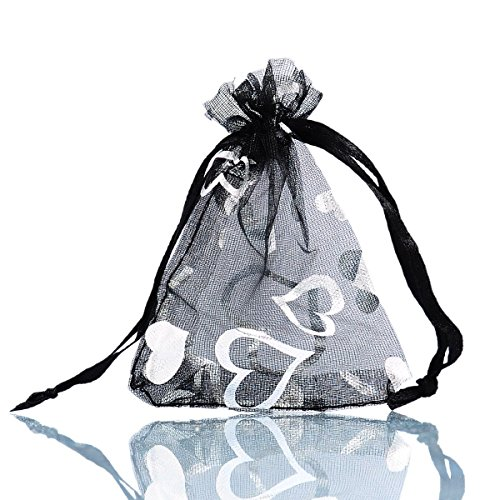 - WSERE 100 Pieces Organza Gift Bags Drawstring Packing Bag Wedding Birthday Party Favors Jewelry Mesh Heart Shaped Yarn Bag 7 Colors, 3.6×2.8 inches(Black)
