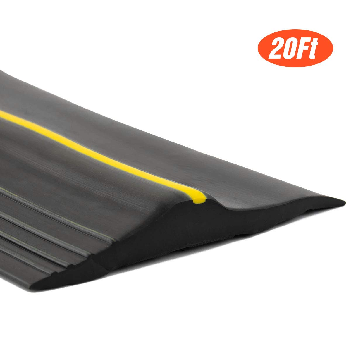 20Ft/6M Universal Garage Threshold Seal Strip, Garage Door Bottom Weatherproof Strip Rubber DIY Weather Stripping Replacement, Not Include Sealant/Adhesive (Black) by ToLanbbt