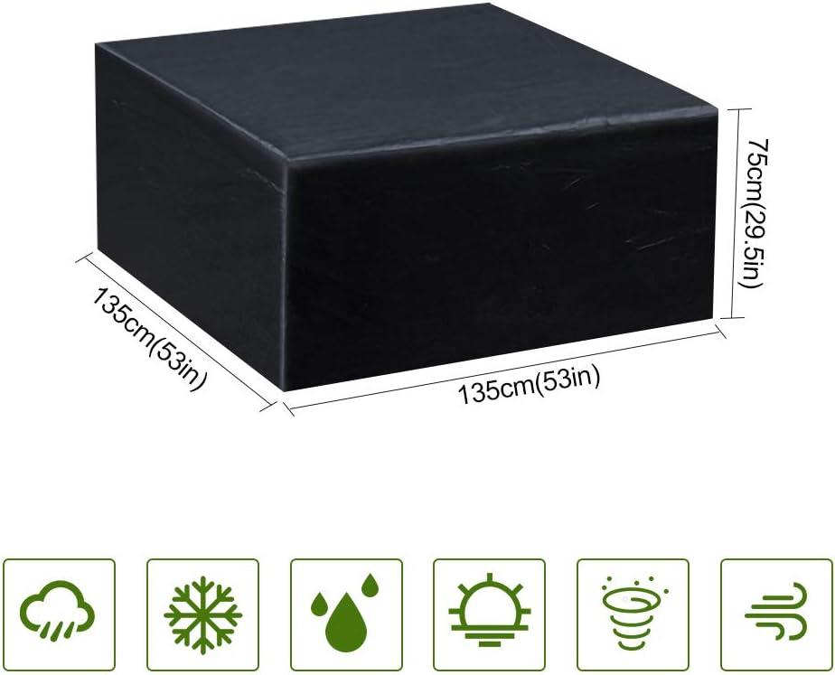 Gurkkst Funda Protectora para Muebles de jardín Funda Muebles Exterior Impermeable Anti-UV Protección Cubierta de Muebles de Mesas Oxford Negro (135x135x75 cm)