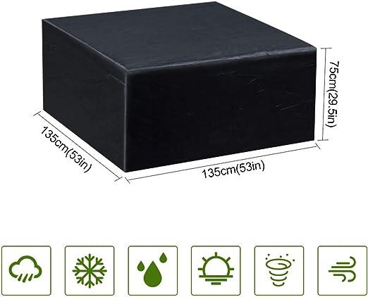 Gurkkst Funda Protectora para Muebles de jardín Funda Muebles Exterior Impermeable Anti-UV Protección Cubierta de Muebles de Mesas Oxford Negro (135x135x75 cm): Amazon.es: Jardín