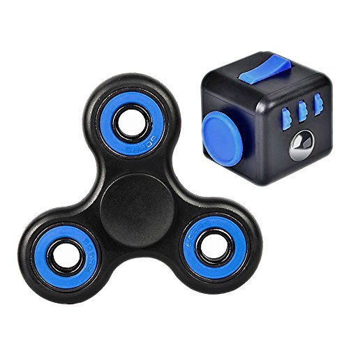 Fidget Spinner and Cube Set with bonus wrist lanyard by Spun Fun – Anxiety and Stress Relief – Perfect Gift for Any Age – Fight Boredom and Improve Focus – Several Colors (Blue)