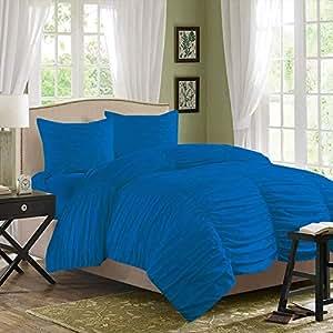 Brightlinen Turquoise Blue Superking (180 X 200 Cm) Gathered Ruffle Duvet Set Solid 3pcs