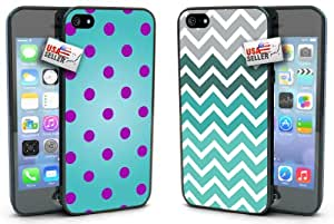 Polka Dots Pink Blue Chevron COMBO TWO PACK for iPhone 5 or 5s