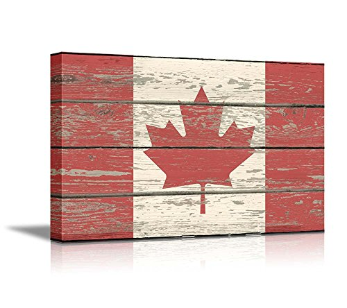 Canada Vintage Flag (Wall26 - Canvas Prints Wall Art - Flag of Canada on Vintage Wood Board Background Stretched Canvas Wrap. Ready to Hang - 16