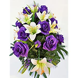 Easter Lilly & Purple Rose Cemetery Saddle for Grave Decoration at Easter or Mother's Day 4