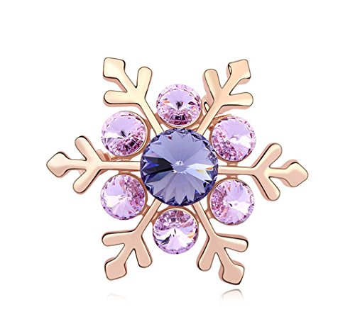 (Fashion Jewelry Charm Swarovski Elements Crystal Lotus Purple snowflake Brooch Pin Rose Gold Plated)