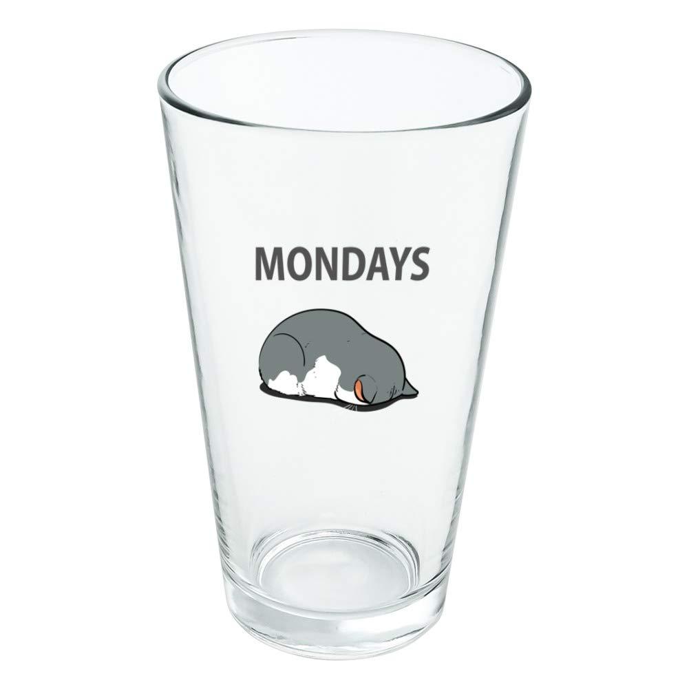 Mondays Cat Sleepy Tired Sleeping Work Novelty Trinkglas aus gehärtetem Glas