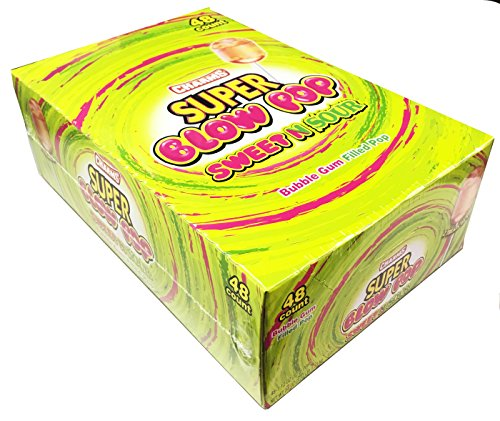 Charms Super Blow Pops Sweet & Sour 48 Pack - Bubble Gum Filled Lollipops (Lollipops Sweet Sour)