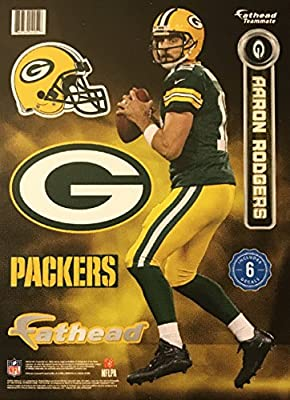 Fathead NFL Green Bay Packers Aaron Rodgers #12 Package of 6 Wall Decal Stickers