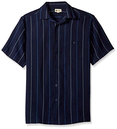Haggar Men's Short-Sleeve Textured Microfiber Woven Shirt, Navy Stripe, Small