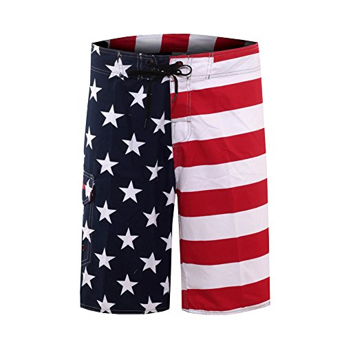 Clothin Outdoor Water Sports Men's Surfing Boardshorts with Pocket(USA American Flag,US 40)