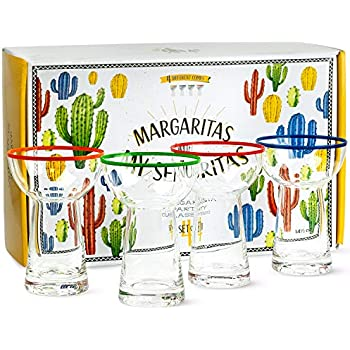 Premium Large Margarita Glasses   4 Big 14.5 oz Piece Gift Set   Non-Wobble Shape, Colored Rim for Easy ID, Stemless, Blown Made   Thick Heavy Cocktail and Dessert Glassware