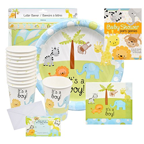 Safari Theme Baby Shower (Baby Shower Decorations for Boy – Safari Decorations Bundle that Includes Invitations, Banners, Cups, Plates, Napkins and More – Complete Kit)
