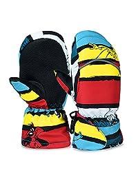 Vbiger Kids Winter Warm Ski Gloves Waterproof Full Finger Mittens