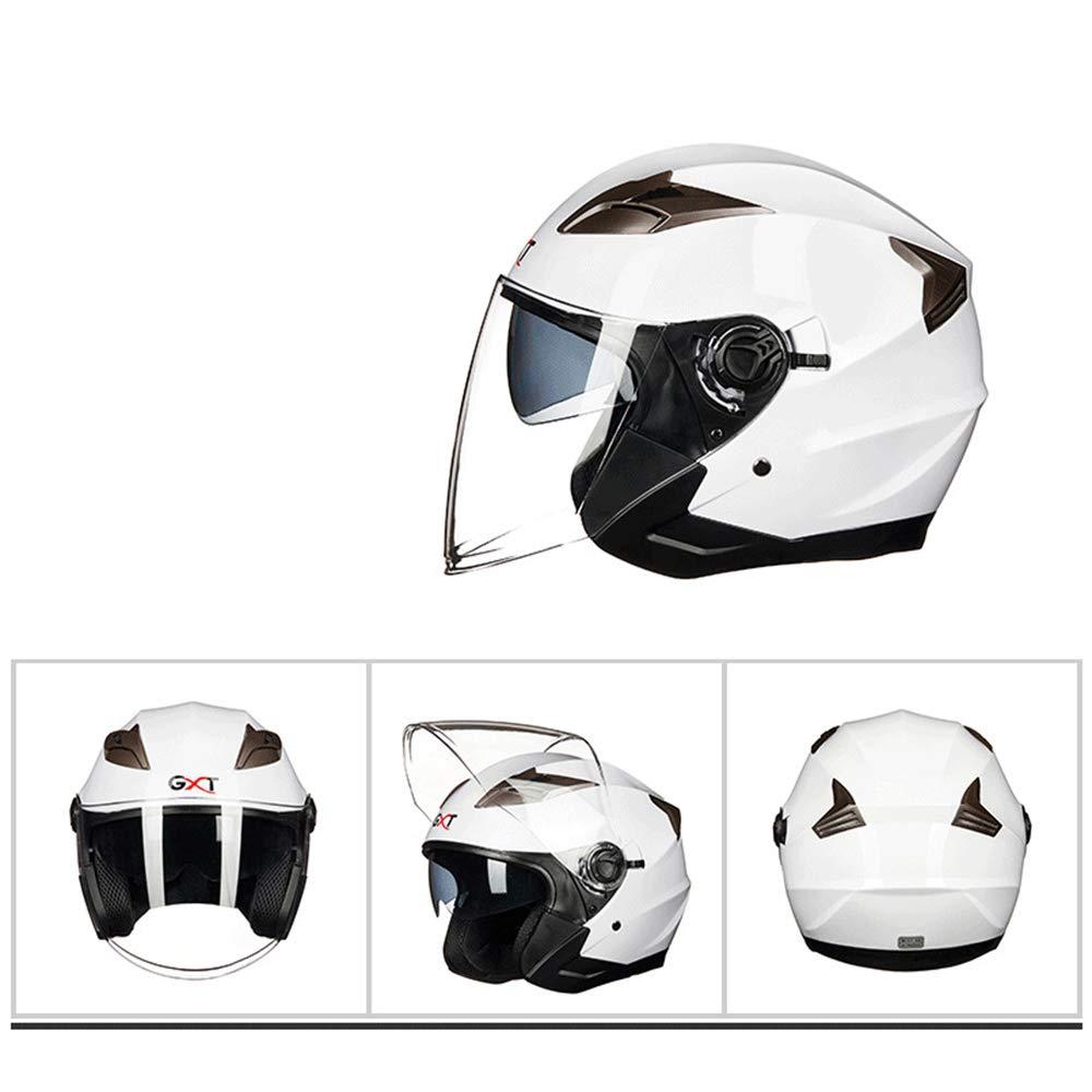 Zhanghaidong Doble Visor Solar Cara Completa Moto Casco Blanco Moto Casco Modular Racing Moto Casco con Visera para Adultos Hombres Mujeres,L: Amazon.es: ...