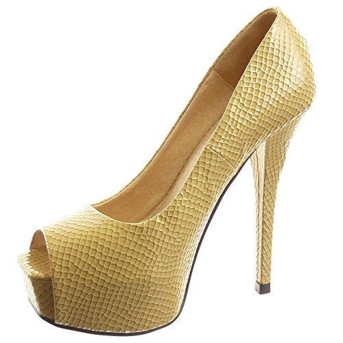 Sopily - damen Mode Schuhe Pumpe Stiletto Plateauschuhe glänzende Patent Schlangenhaut - Beige
