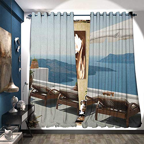 - Patterned Drape for Glass Door Sunbathing with Caldera View Terrace Santorini Aegean Greece Art Print Waterproof Window Curtain W120 x L84 Blue White and Green
