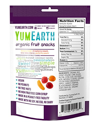 YumEarth Naturally Flavored Organic Fruit Snacks, 5 oz Pouches, 6 Count