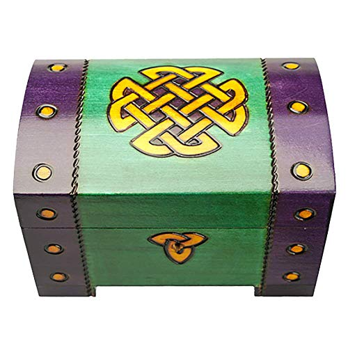 - Celtic Box with Lock & Key Polish Handmade Linden Wood Chest with Celtic Lovers Knot