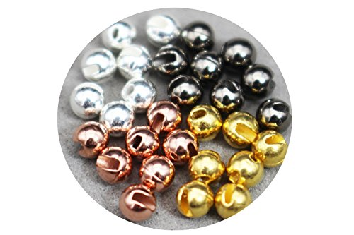 24 Pcs/Lot 4 Colors 3.3mm Nice-Designed Slotted Tungsten Beads Fly Tying Beads Materials (Assorted each 6 pcs)