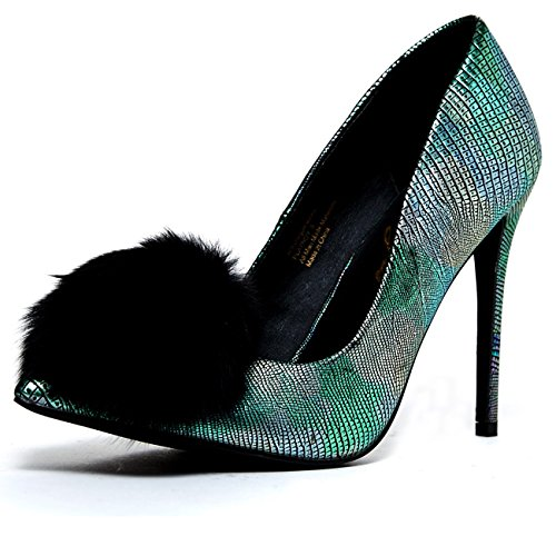 PRIVILEGED PLAYBOY BLACK MULTI MERMAID FUR POM POM POINTED TOE STILLETO PUMPS (Playboy : Womens Shoes)