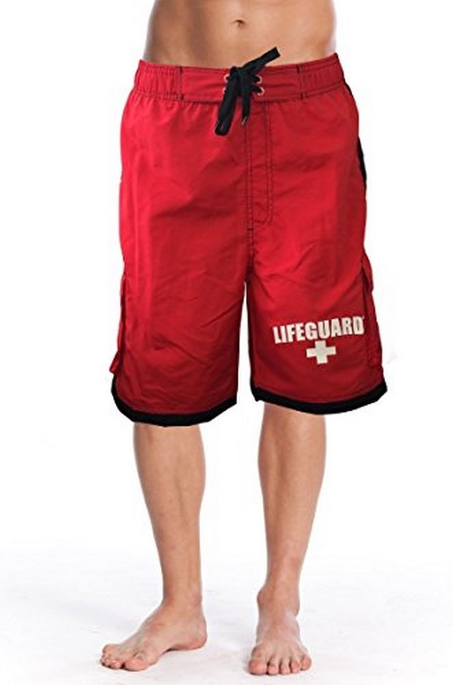 Officially Licensed Red LIFEGUARD® Men's Board Shorts Swim Trunks MS1