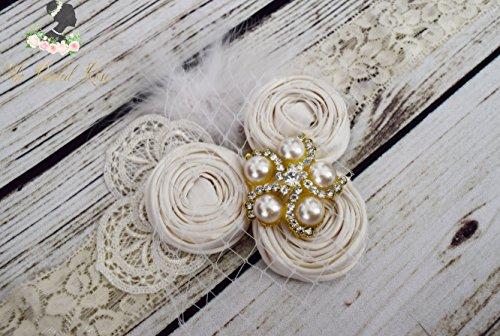 Handcrafted Dupioni Silk Rose Headband - Vintage Veiling Accessory - Cream Bridal Headband - Ivory Roaring 20s Headpiece - Feather Headband