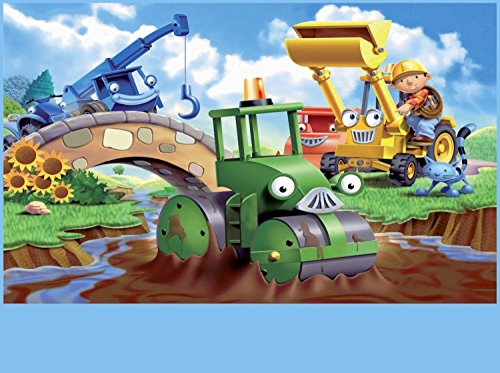 SDore Bob the Builder Edible Birthday Cake Image Topper Frosting Icing 1/4 (Bob The Builder Cake Decorations)